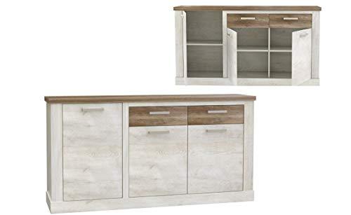 Furniture24 Kommode Duro DURK231L, Wohnzimmerschrank, Sideboard mit 3 Türen und 2 Schubladen