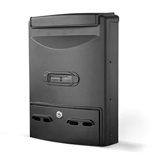 Locking Drop Box – Home Office Muur gemonteerde brievenbus, metalen winddicht en regendichte brievenbus postdoos, 26 × 9.5 × 31CM