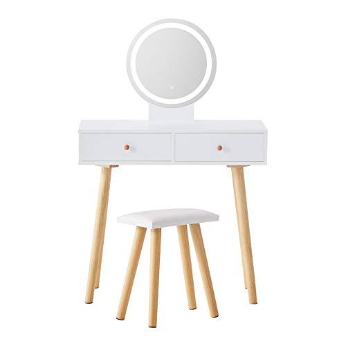 TUKAILAI Vitt sminkbord med LED justerbar ljusstyrka touch ljus spegel, pall och 2 lådor sminkbord set sminkbord kosmetika byrå sovrum möbler