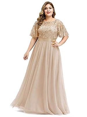 Alisapan Womens Short Flare Sleeve Formal Dress Plus Size Bridesmaid Dress Gold US 22