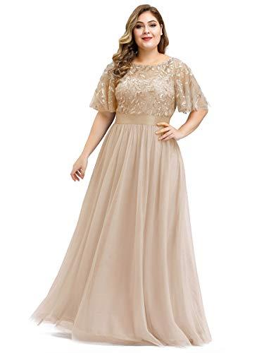 Ever-Pretty Damen Elegant Empire A-Linie Bodenlang Kurze Ärmel Tüll große Größe Abendkleider Gold 48