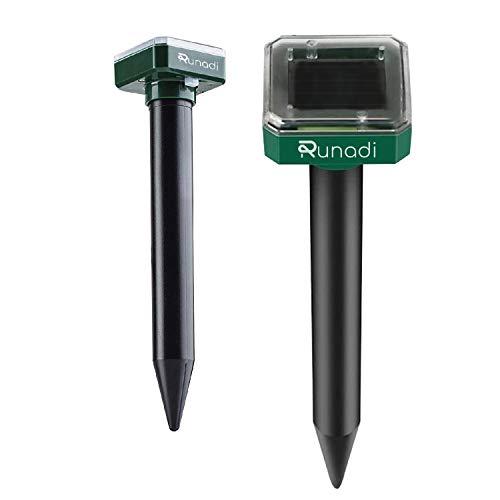 RUNADI Mole Repellent 2 Packs - Outdoor Sonic Insect Deterrent - Solar...