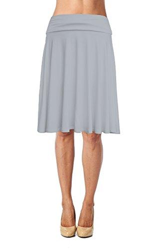 Womens Basic Soft Stretch Mid Midi Knee Length Flare Flowy Skirt Made in USA-Light Grey,Medium