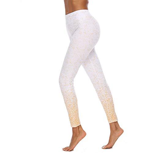 Pantalones de Yoga de Cintura Alta de la impresión de Bronceado, Pantalones de Entrenamiento de Control de la abdomia para Mujeres Moda Estirar Leggings de Yoga,Blanco,S