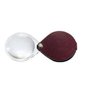 Eschenbach Classic No. 17401-50 50mm 10D 3.5x Folding Round Magnifier with red / burgundy Leather Case