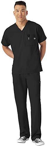 WonderWink W 123 Men's Medical Uniforms Scrub Set Bundle- 6355 V-Neck Scrub Top & 5355 Elastic Waist Cargo Pants & MS Badge Reel (Black - Medium/Small)