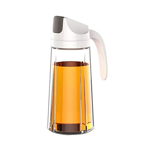 Pilika Aceitera Botella de Aceite Cristal Dispensador para Cocina Cocinando con Protectora de Volteo Automático 22 OZ (630ml) Blanco