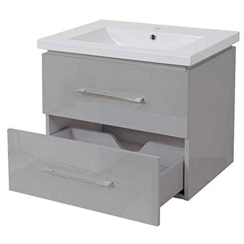 Mendler Premium Waschbecken + Unterschrank HWC-D16, Waschbecken Waschtisch, Hochglanz 60cm - grau