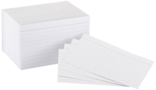 Amazon Basics Heavy Weight Ruled Lined Index Cards, White, 3x5 Inch Card, 300-Count