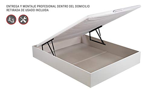 ROYAL SLEEP Canapé Abatible (135x190) de Gran Capacidad, Tapa 3D Transpirable, Color Blanco