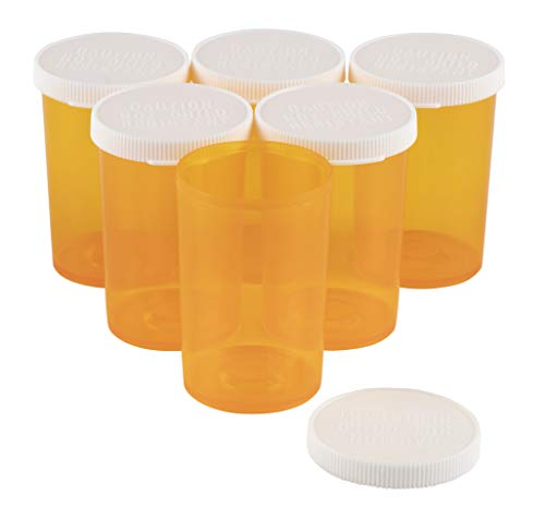 50-Pack Empty Pill Bottles Medicine Containers, Plastic Prescription Vials 20-Dram for Pharmacy, Drug, Tablet - Yellow, 1.5 x 2.5 inches