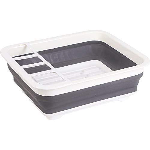 COOLSHOPY Estante de plástico para platos de cocina con escurridor, plegable, para el hogar, multifunción, de una sola capa