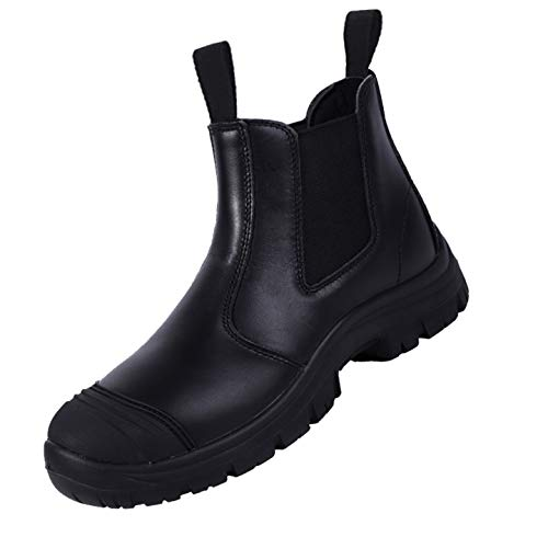 BOIWANMA Work Safety Boots for Men Breathable Work Shoes Electric Hazard , Slip Resistant, Quick Dry, Comfortable Pull-On Leather Steel Toe Wide Work Boots for Work, Construction,Casual, Size 11.5