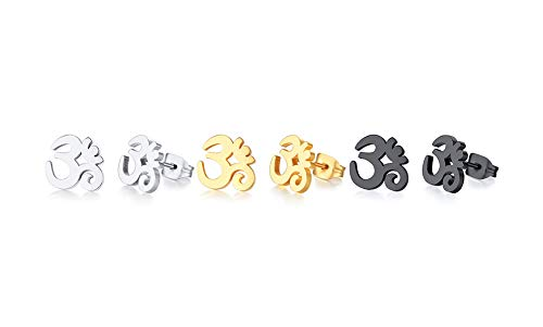 Unisex Buddha Namaste Ohm Om Aum Sanskrit Symbol Stud Earrings Stainless Steel Hindu Yoga Ear Plugs,3 Color