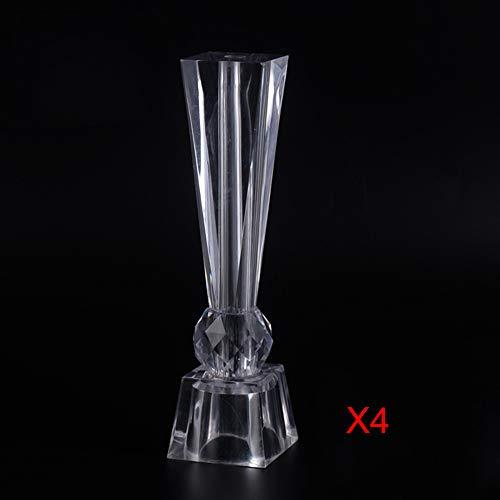 Furniture feet GCDW Acryl MöBelbeine, Solide Transparent, DIY Tischbeine Transparentes Glas BüCherregal Moderner Schrank StüTzbeine, Ersatz Sofa Beine (4 StüCk)