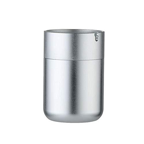 Asbak aluminiumlegering asbak - geschikt voor thuis/auto/multifunctioneel/vakantie geschenk/draagbaar/slaapkamer/nachtkastje, enz. Zwart Zilver-7X10.4cm