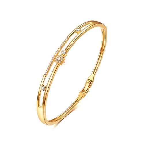 Armband Gold Frauen, E Jewelry 18K Gold Plattiert Sterne 3A Zirkonia für Frauen Armkette Armreif Armbänder Damen