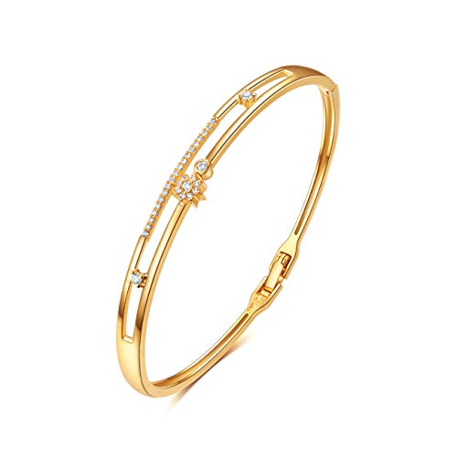 EE 18K Gold Plated Bangle Bracelet for Women, Hand-Inlaid CZ Cubic Zirconia, Size 7 inchs