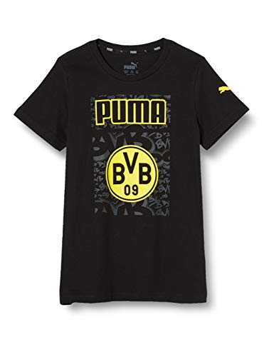 PUMA BVB ftblCore Graphic Tee Jr T-Shirt, Black-Cyber Yellow, 152
