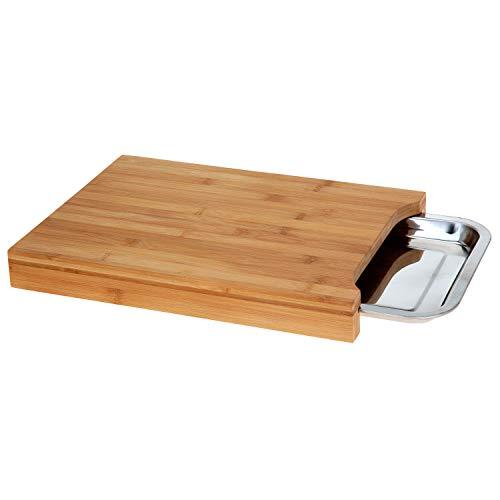 Koopman - Tabla de cortar de bambú con bandeja de acero inoxidable
