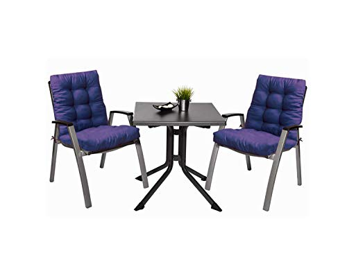 Pack 2 Cojines con Respaldo de Silla Jardin Conjunto Cojin de Asiento para Interior y Exterior Cómodo. Cojines para sillas, tumbonas, mecedoras terraza. (Azul)