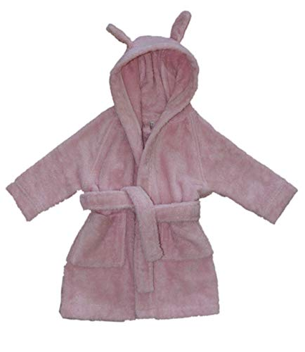 Leela Cotton Baby Kinder Bademantel Bio-Baumwolle mit Kapuze Frottee (74/80, rosa)