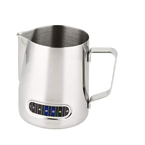 Brocca schiumalatte con termometro, in acciaio inox, controllo della temperatura, per caffè, cappuccino, espresso, latte macchiato, 600 ml