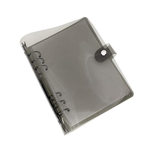 A5 A6 6穴 透明PVCなシステム手帳 バインダー システム手帳 プランナー ルーズリーフ ファイロファックスノートブック オフィス学用品手帳 ボダン付き ブラックA6 コンボ