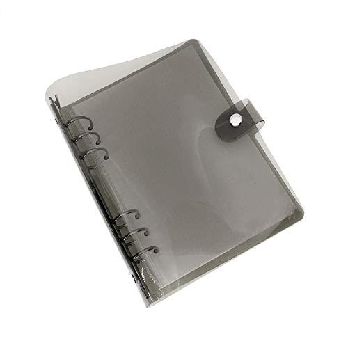 A5 A6 6穴 透明PVCなシステム手帳 バインダー システム手帳 プランナー ルーズリーフ ファイロファックスノートブック オフィス学用品手帳 ボダン付き, Black, A6 Combo