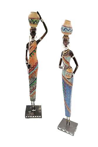 Geschenkestadl 2 große afrikanische Frauen je 42 cm edle Massai Figuren Afrikanerin