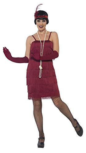 Smiffys Costume jeune fille délurée années 20, Rouge, avec robe courte, bandeau et gants
