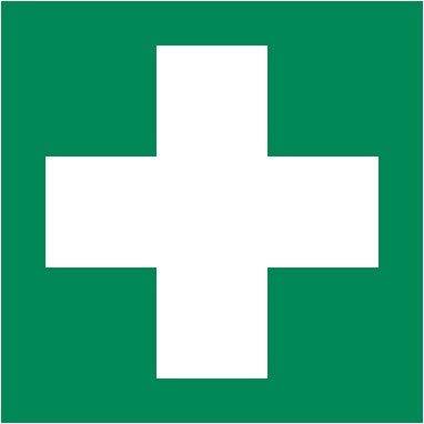 2 Stück Aufkleber Rettungszeichen Grün mit weißem Kreuz für Erste Hilfe Einrichtungen 10,5x10,5 cm