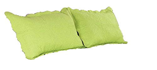 ALL FOR YOU 2pc Quilted Pillow Shams-Standard Size-Lime Green/Bright Lime Green Color
