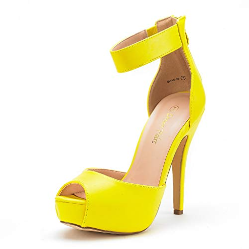 DREAM PAIRS SWAN-05 New Women's Ankle Strap Back Zipper Peep Toe High Heel Platform Pump Shoes,Yellow Pu,10 B(M) US
