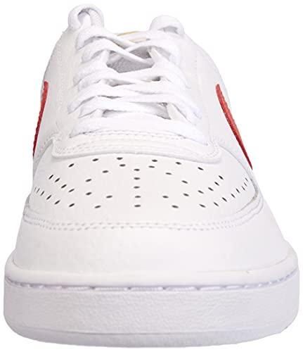 Nike Court Vision Low, Zapatillas de bsquetbol Mujer, Blanco y Rojo, 42 EU