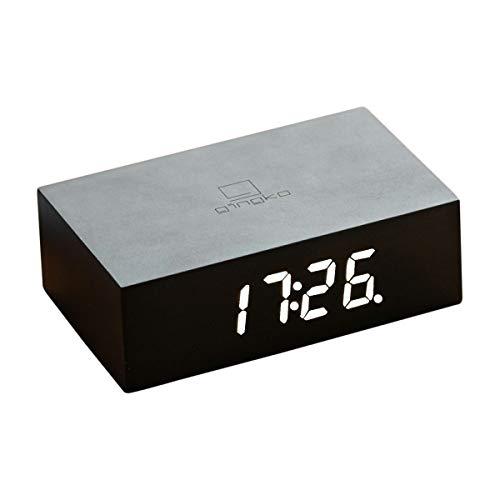 Gingko Flip Click Clock Wecker, Schwarz