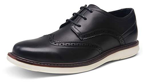 VOSTEY Men's Dress Shoes Black Dress Shoes for Men Casual Dress Shoes for Men Oxford Shoes Business Dress Sneakers Wingtip Oxford Shoes for Men(Brogue dress717A-black,09)