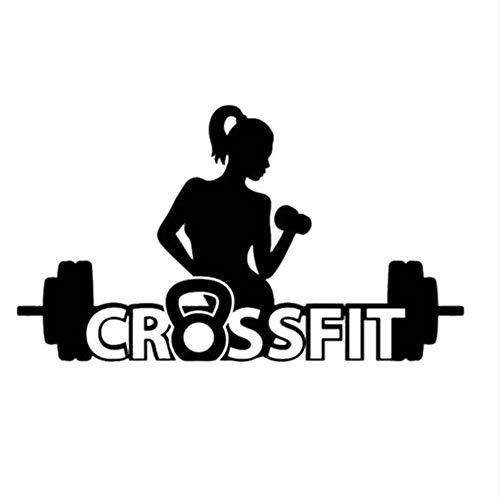 Pegatinas De Pared Engomada Para El Gimnasio Adhesiva Para Ejercicios De Fitness Chica De Crossfit Calcomanías De Musculación Pegatinas De Vinilo Tamaño 12X22In (33X58Cm)