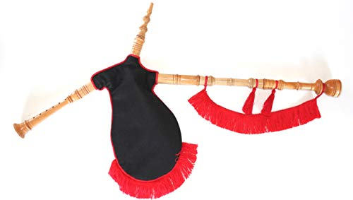 Gaita gallega de Juguete, Fieltro Negro con Fleco Rojo, en Madera de Fresno lacada al Natural, Cordon Rojo, Ideal para niños Que quieran Empezar a Dar Sus primeras Notas.