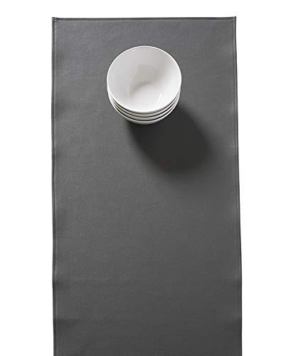 Set van 2 tafellopers in grijze lederlook, 45 x 140 cm