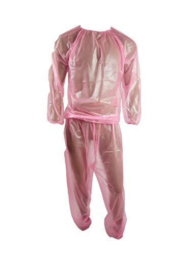 Haian PVC Jogginganzug Saunaanzug (Medium, Transparent Pink)