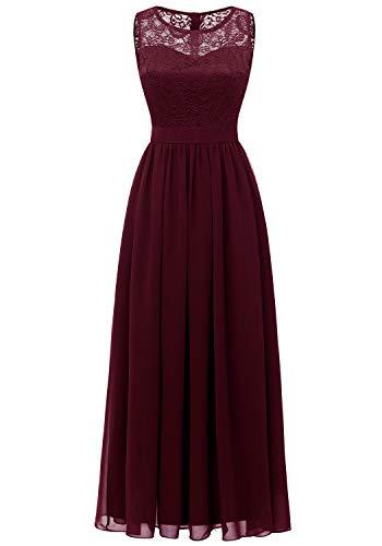 Dressystar 0046 Abendkleid Basic Chiffon Spitzen Ärmellos Brautjungfernkleider Bodenlang Burgundy M