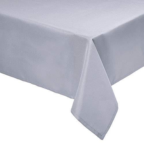 Amazon Basics - Mantel de poliéster para mesa, rectangular, lavable, 153 x 259 cm, gris oscuro, 2 unidades