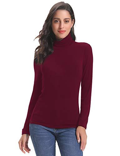 Abollria Camisetas Mangas Larga Cuello Alto Elegantes para Mujer Ligero Shirts Casual Turtleneck Tops para Primavera Otoño Invierno