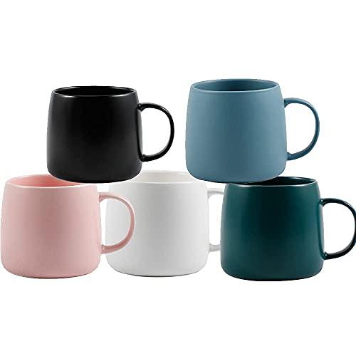 CGDX Taza de café de porcelana Taza de cerámica, Taza de porcelana esmerilada suave, Tazas de café, Taza de té, para oficina y hogar, Regalo de salud, Capacidad máxima 450 ml, Juego de 5