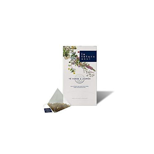 LA TETERA AZUL Te Verde Sencha Japones Ecologico Con Aroma De Jazmin. Infusion Organica En Piramides. Te Verde & Jazmin. 20 Piramides.