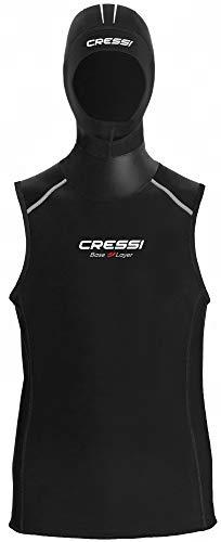 Cressi Base Layer Hood Vest Man 2.5-5mm Traje Interior con Capucha incorporada, Men's, Negro, XX-Large