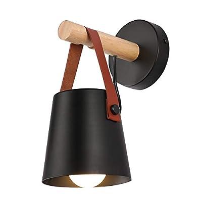 iYoee Wall Sconce Lighting Fixture,Black Industrial Bedroom Bedside Wall lamp Brown Leather and Wood Bathroom Vanity Mirror Lighting fixtures