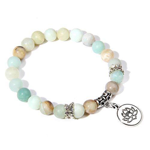 ADDYZ Hecho a mano piedra natural loción ompass manos cadena rosa cebra daemon encanto pulsera mujeres hombre yoga joyería regalo