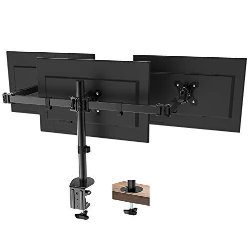 PUTORSEN Soporte de Tres Brazo de Escritorio Ajustable, para Pantalla de Monitor de TV, LCD y computadora de13-27, con Capacidad de Carga de 7kg para Cada Monitor
